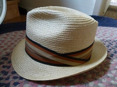 b42b9c8509366 VINTAGE MEN S STRAW Hat Fedora size 6-7 8 Brent Great Vintage Black ...