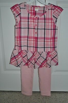 Gymboree girls two-piece outfit, pink plaid shirt with matching pants, size 7.