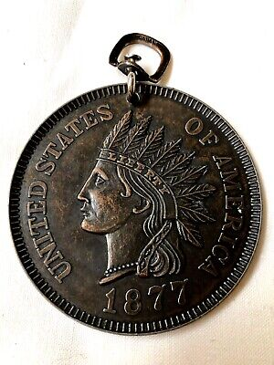"Vtg 3"" 1877 Indian Head Penny One Cent Coin Metal Replica Novelty Key Ring Japan"
