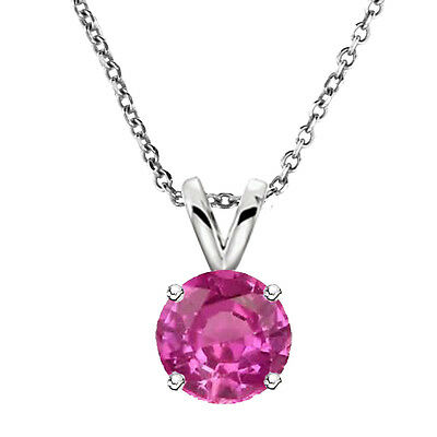 6,7,8 MM Solid Sterling Silver Round PInk Sapphire Solitaire Pendant Necklace