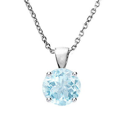 Solid Sterling Silver 6,7,8 MM Round Cut Aquamarine Solitaire Pendant Necklace