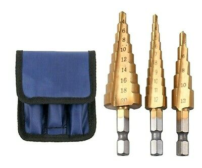 3pc HSS Step Cone Titanium Drill Bit Set Hole Cutter with Strong Storage Pouch