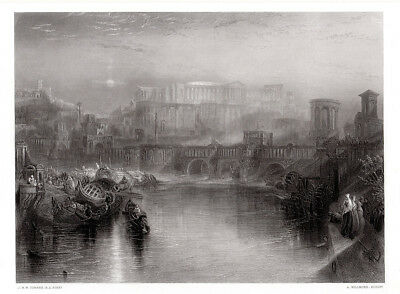 Breathtaking 1800s JMW TURNER Antique Engraving ANCIENT ROME Framed SIGNED COA