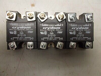 (3) Crydom D1210 Solid State Relay 120VAC 10 Amp