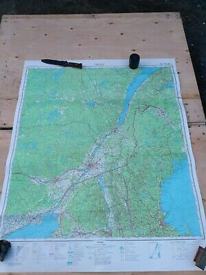 Vintage Big Authentic Soviet Army Military Topographic Map Canada