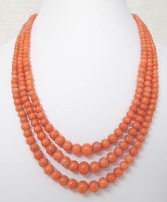 Antique Chinese Salmon Coral Triple Strand Necklace Sterling Bird Clasp 70.3g