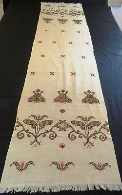 Antique Metallic Embroidery Turkish Towel Table Runner Arts and Crafts Victorian