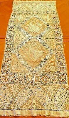 Antique Lace Runner Filet Panel Reticella Handmade French Figural Needle work
