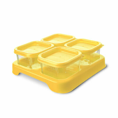 Green Sprouts Reusable Baby Food Glass Containers Freezer Cubes 2 Ounce Green