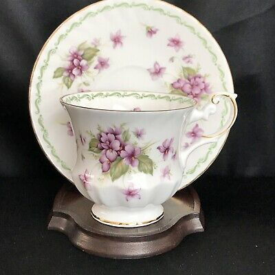 Vintage English Bone China~Rosina Queens~Footed Tea Cup/Saucer-Purple Violets