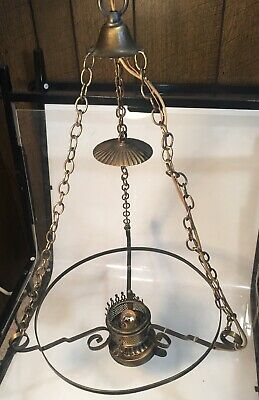 Vintage Brass Ceiling Swag Light Chandelier Double Light