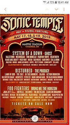 2 Foo Fighters Sonic Temple Music and Arts Festival Field Sunday Only May 19