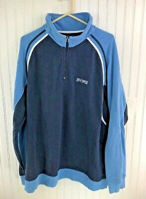 4c666e63 Tommy Hilfiger 1/2 Zip Pullover Sweatshirt Size XL Spell Out 2 tone Blue  Vintage