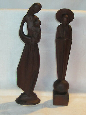 Hand carved wooden figurines of the Virgin Mary Our Lady of Grace and Jesus