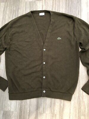 9a44bcad2358 Vintage Izod Lacoste Cardigan V-Neck Sweater Mens Xl Olive Green Classic