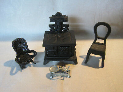 Vintage cast iron dollhouse furniture lot, stove and chairs