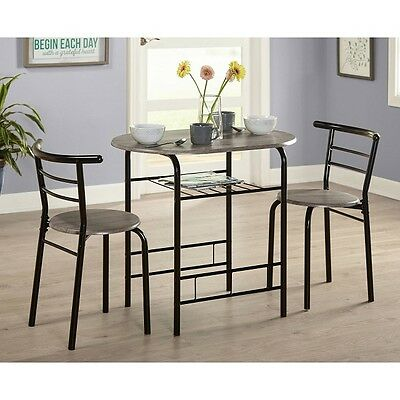 Small Dining Set Bistro Pub 3 Piece 1 Table 2 Chairs Kitchen