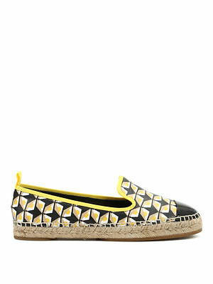 aaf3a0a4806c Fendi Black   Yellow Leather Bag Bugs Cap Toe Flat Espadrilles EU 39 US 9   500