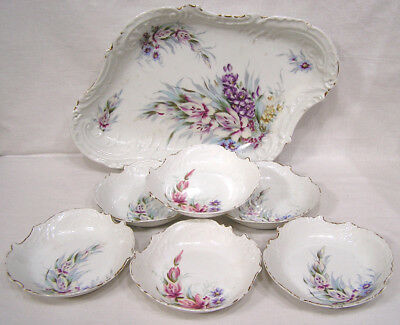 Vintage Porcelain Serving Bowl Set of Six Matching Bowls HP Gladiolus NICE 1930s