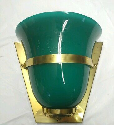 VINTAGE CVV Vienna Theatre Sconce Electric Light Green Glass Made in France