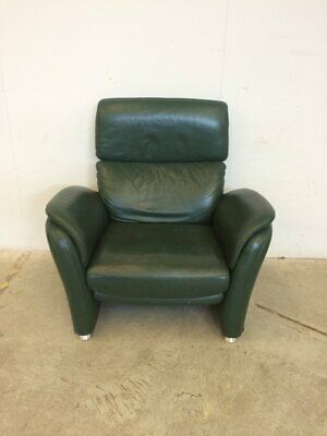 Green Leather Reclining Armchair