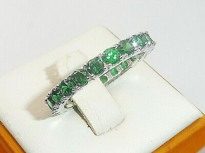 Ladies Hand Made Sterling 925 Silver Brilliant Cut Emerald Full Eternity Ring