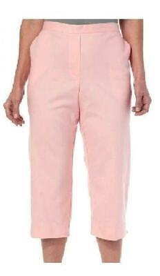 Alfred Dunner Plus 24W Womens Capri Pants Peach Flat Front Pull-on NWT $50