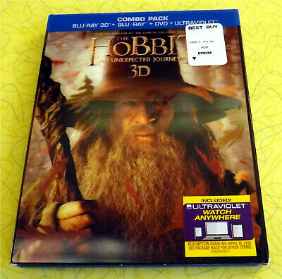 The Hobbit: An Unexpected Journey (Blu-ray 3D, DVD 4-Disc Set) Lord of the Rings