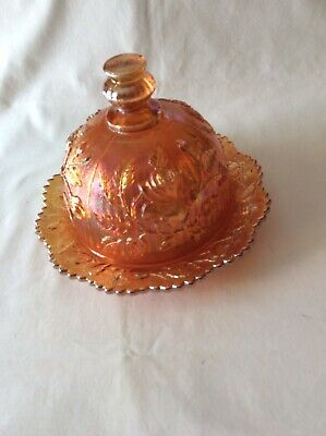 Vintage Imperial Glass, Marigold Carnival Open Roses, Butter Dish with Dome