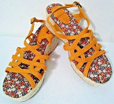 Girls Youth MUDD TOYGER Pink Woven Wedge Sandals Buckle Dress Shoes NEW