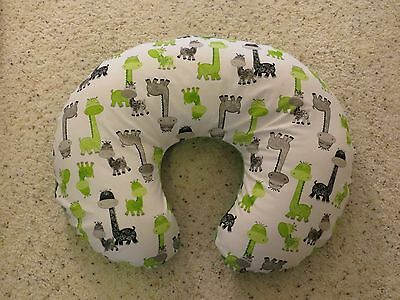Giraffe  minky dot backed EMIJANE Nursing pillow cover - fits Boppy