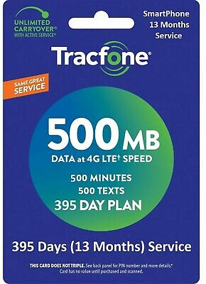 TracFone Service Extension 1+ Year 395 Days,500 minutes/500Text/500MB SmartPhone