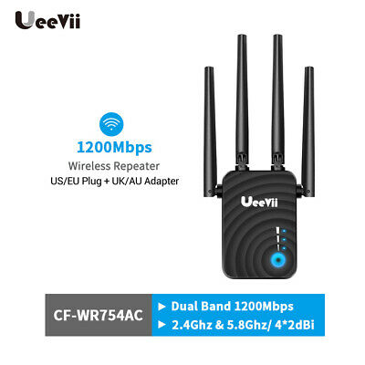 Ueevii WiFi Range Extender 1200Mbps Mini WiFi Repeater 2.4GHz/5.8GHz Dual Band