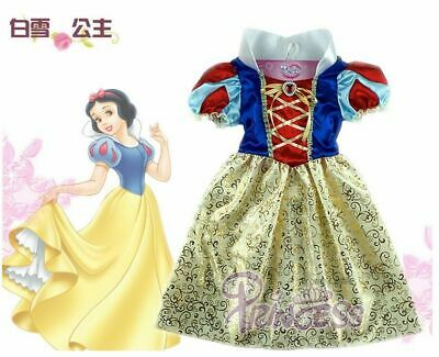 Princess Snow White Costume Outfit Fancy Dress Up Girls age 3-10 Cosplay Doll