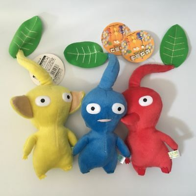 New Set Of 3 Game Plush Pikmin Plush Red Blue Yellow Leaf 8