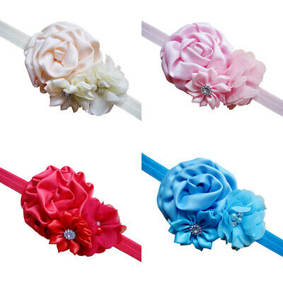 Baby Girls Soft Shabby Flowers Hairband Elastic Headband Hair Band Accessory VOP