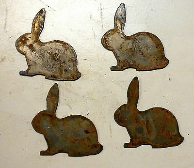 "Lot of 4 Rabbit Bunny Shapes 3"" Rusty Metal Vintage Ornament Craft Stencil"