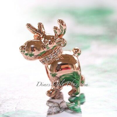 2fbf082a7 Authentic Pandora Happy Reindeer Charm Clear CZ Rose Gold 787514CZ Bead Gift