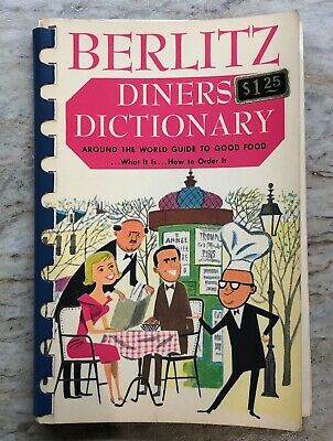 VTG BERLITZ DINERS' Dictionary Pocket Travel Around The World Guide to Good Food