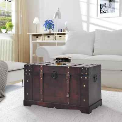 Wood Storage Trunk Wooden Treasure Chest End Table Coffee Table Vintage Antique
