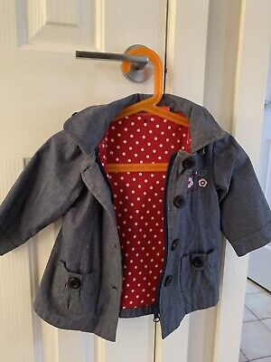 Sprout Jacket Size 0 Blue With Red Polka Dot Lining. Detachable Hood.