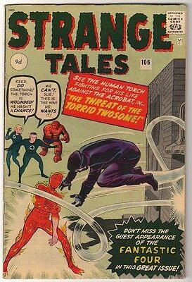 Marvel Comics 6.0 FN+ STRANGE TALES #106 1963 HUMAN TORCH HIGH GRADE