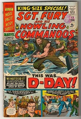 MARVEL Comics SGT FURY KING SIZE (nick) Captain America app SILVER age #2  VFN-