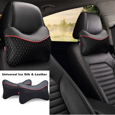 Universal Black Breathable Leather Car Seat Head Rest Cushion Support Pillows 2x