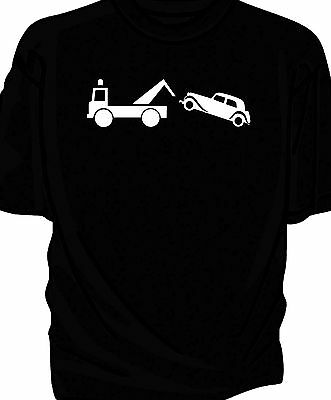 Classic car Breakdown humour t-shirt.  Traction Avant