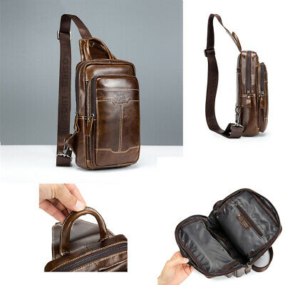 Vintag Genuine Leather Sling Bag Multipurpose Chest Pack Shoulder Messenger Case