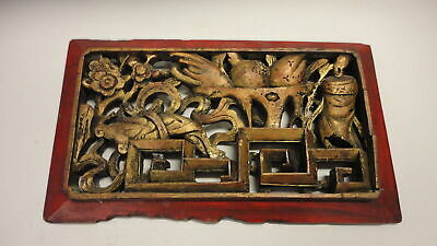 VINTAGE ASIAN GOLD GILT CARVED WOOD RELIEF WALL HANGING PANEL Temple