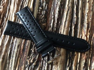 Italian Vintage Perforated leather watch band 20mm strap Rally Racing Black