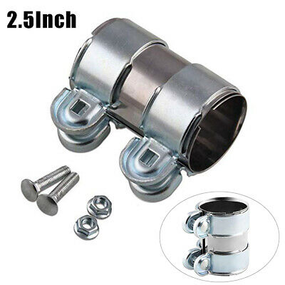 """2.5""""/66mm Clamp-On Stainless Exhaust Pipe Connector Sleeve Joiner Clamps Kits x1"""