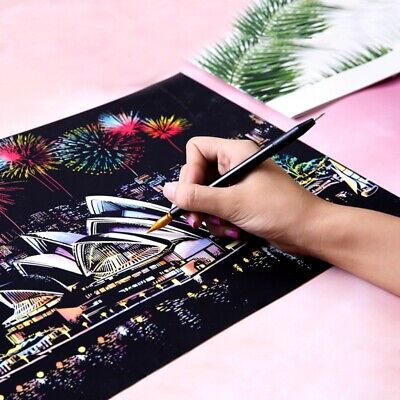 Magic Scratch Sketch Pad Kid Adult Wooden Drawing Shiny Stick Art Painting NEW